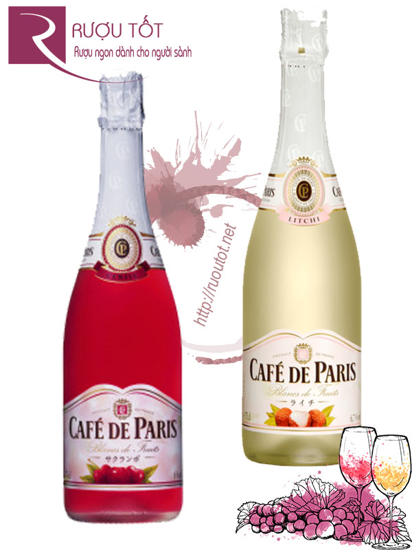 Rượu vang nổ Cafe De Paris Blancs de Fruits (Cherry - Lychee)