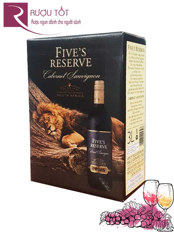 Vang bịch Fives Reserve 14 độ South Africa 3L