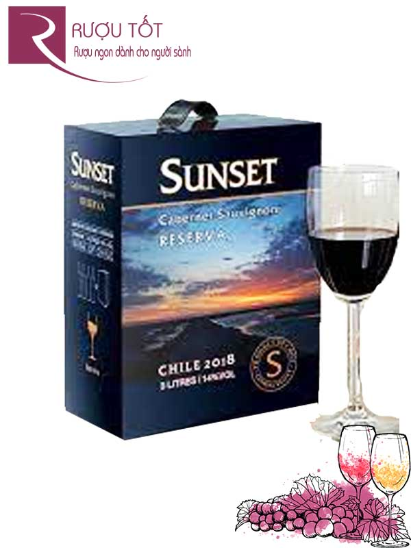 Vang Chile Sunset Reserva Cabernet Sauvignon Central Valley 3 Lít